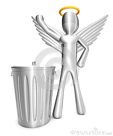 Cartoon Angel with Trash Can