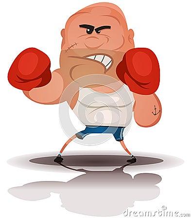 Cartoon Angry Boxer Champion