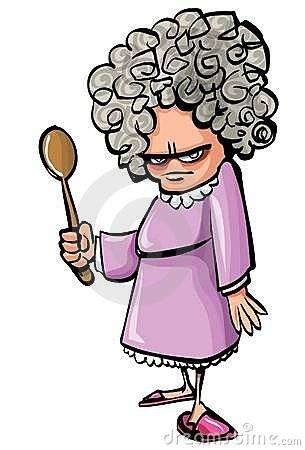 Cartoon Angry Old Woman With A Wooden Spoon Royalty Free ... Grandparents Family Clipart