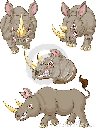 Free Cartoon Angry Rhino Collection Set Stock Images - 123696534