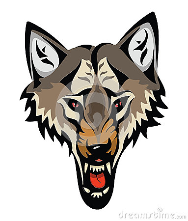 Cartoon angry wolf head