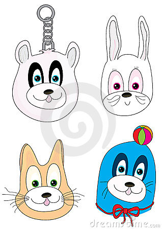 Cartoon Animal 4 Faces_eps