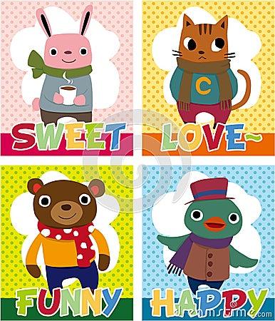 Free Cartoon Animal Card Royalty Free Stock Image - 17635026
