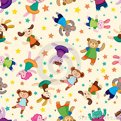 Cartoon animal dancer seamless pattern