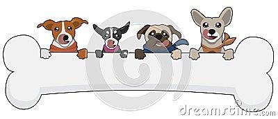 Cartoon animal dog cute with bone illustration animals pet baby funny Vector Illustration