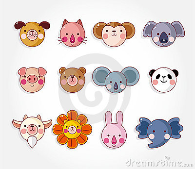 Cartoon animal face icon set,