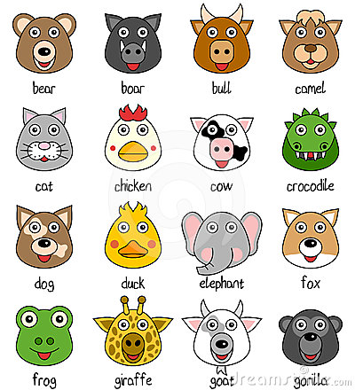 Free Cartoon Animal Faces Set [1] Stock Photography - 24393552