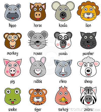 Free Cartoon Animal Faces Set [2] Stock Images - 24405924