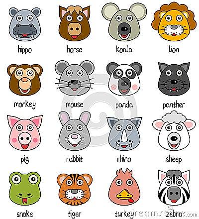 Cartoon Animal Faces Set [2]