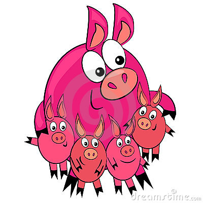 Cartoon animal family.pig parent and children