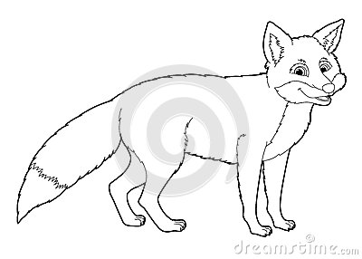 Cartoon Animal Fox Coloring Page Stock Illustration