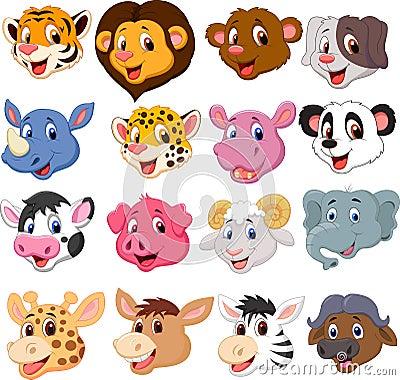 Free Cartoon Animal Head Collection Set Stock Photography - 33236562