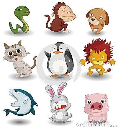 Cartoon animal icon set