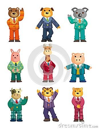 Cartoon animal icons set