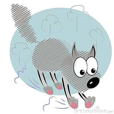 Cartoon animal kid in hurry.cute wolf  card