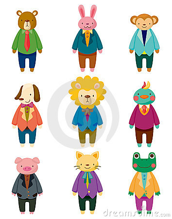 Free Cartoon Animal Office Worker Icons Royalty Free Stock Image - 21372726