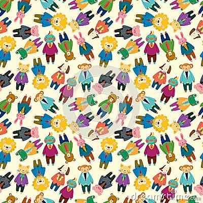 Cartoon animal office worker seamless pattern