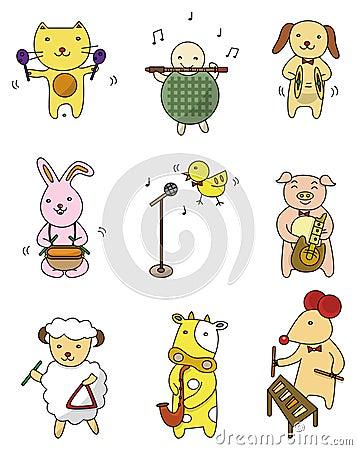 Free Cartoon Animal Play Music Icon Stock Photo - 19066330