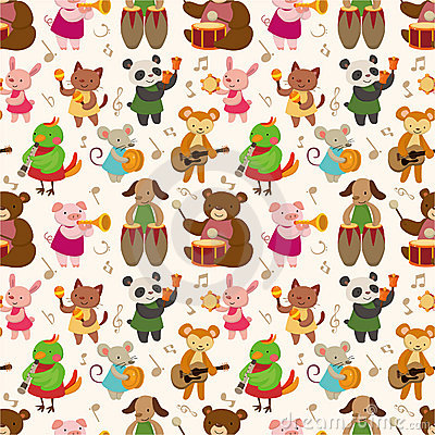 Free Cartoon Animal Play Music Seamless Pattern Royalty Free Stock Images - 20678609