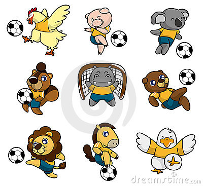 Cartoon animal soccer player icon
