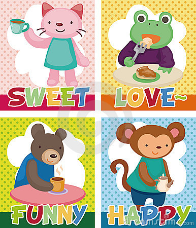 Cartoon animal tea time card