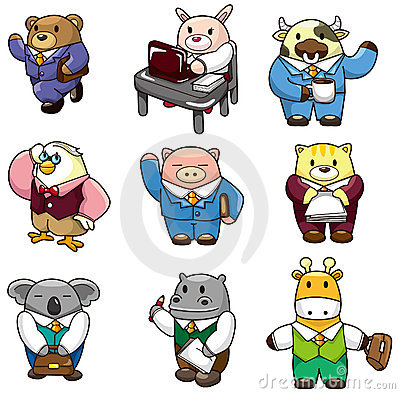 Free Cartoon Animal Worker Icon Stock Images - 18731874