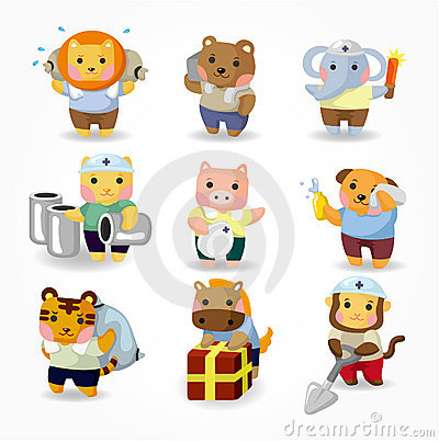 Cartoon animal worker icon set