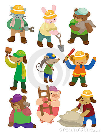 Free Cartoon Animal Worker Icons Royalty Free Stock Photography - 20588937
