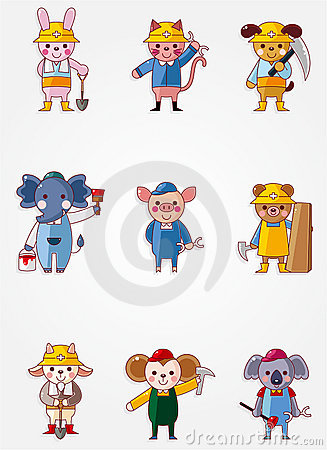 Free Cartoon Animal Worker Icons Stock Images - 20719704