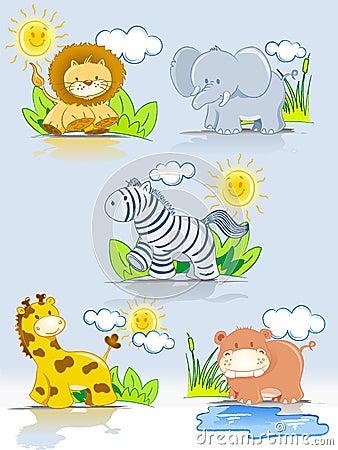 Free Cartoon Animals Jungle Set Stock Images - 15066974
