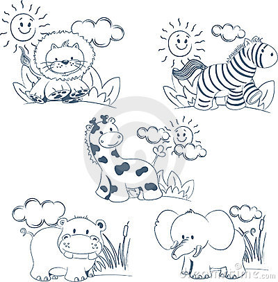 Cartoon animals jungle set outline