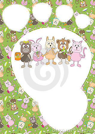 Cartoon Animals Pattern Card_eps