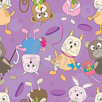 Cartoon Animals Seamless Pattern_eps