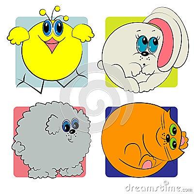 Cartoon animals set. animals zoo