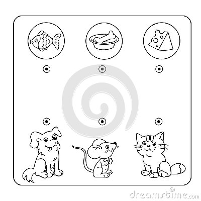 Cartoon Animals and their Favorite Food. Maze or Labyrinth Game for Preschool Children. Puzzle. Tangled Road. Matching Game Vector Illustration