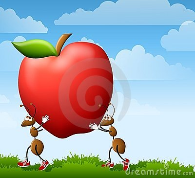 Cartoon Ants Carrying Apple