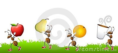 Cartoon Ants Carrying Snacks