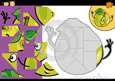 Cartoon apple jigsaw puzzle game