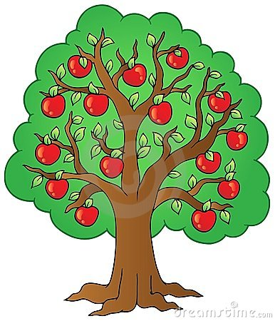 Free Cartoon Apple Tree Royalty Free Stock Photos - 19396448