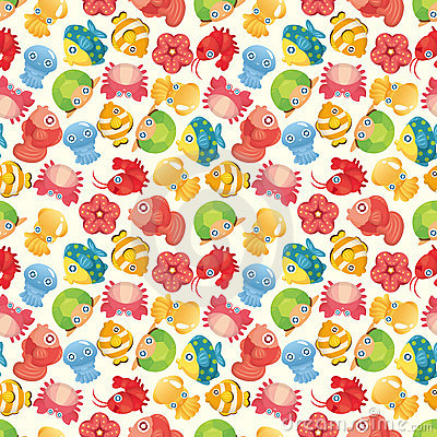 Cartoon aquatic fish animal seamless pattern