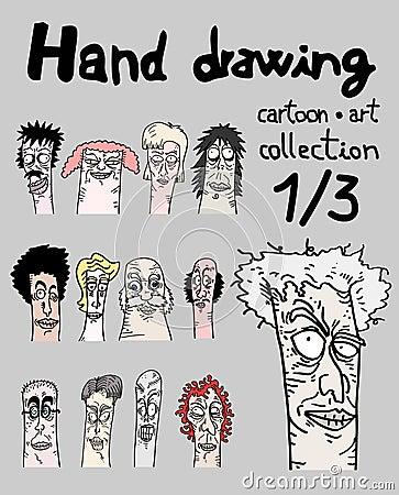 Cartoon art collection, one of three