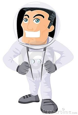 Cartoon astronaout in a space suit