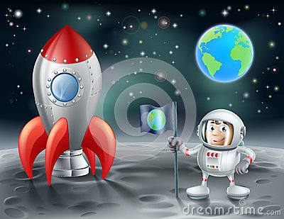 Of a cartoon astronaut and vintage space rocket on the moon