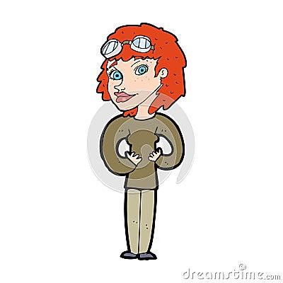 cartoon aviator woman