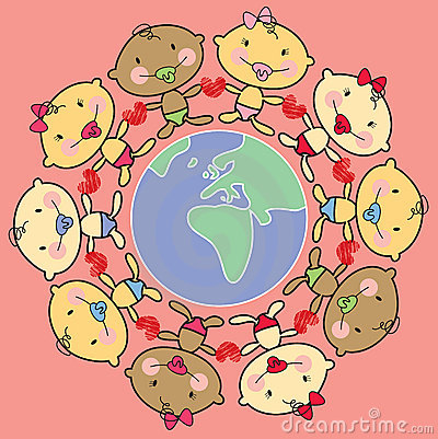 Cartoon babies & world-AFRICA