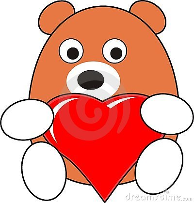 Cartoon baby bear toy with red heart
