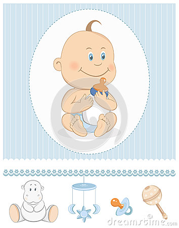 Cartoon baby boy with milk bottle and toy icons. Editable vector ...