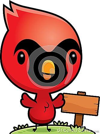 Free Cartoon Baby Cardinal Wood Sign Stock Image - 47398911