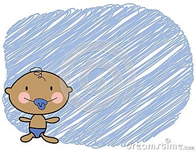 Cartoon baby dark skin boy