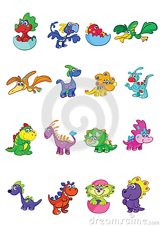 Cartoon baby dinosaurs